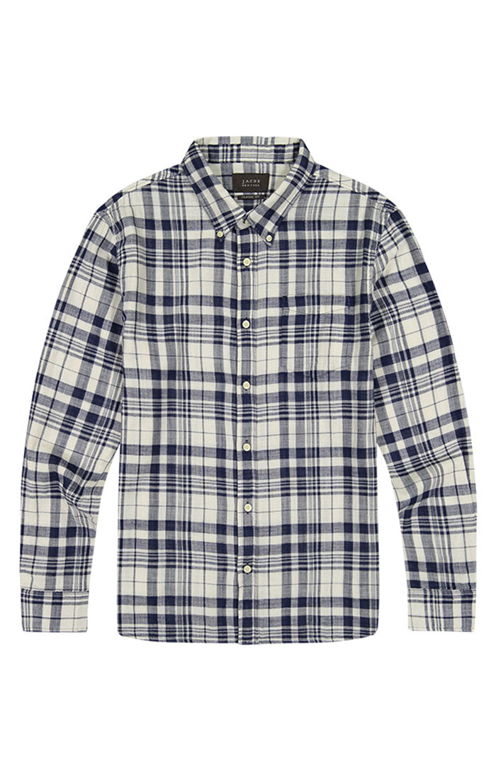 White Plaid Stretch Double Face Shirt - jachs