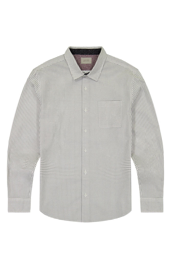 White Circle Print Long Sleeve Tech Shirt - jachs