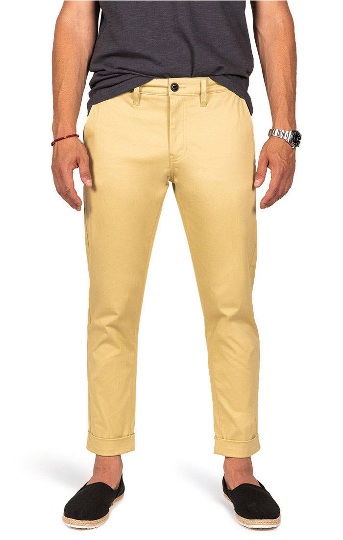 Wheat Cropped Fit Stretch Bowie Chino - jachs