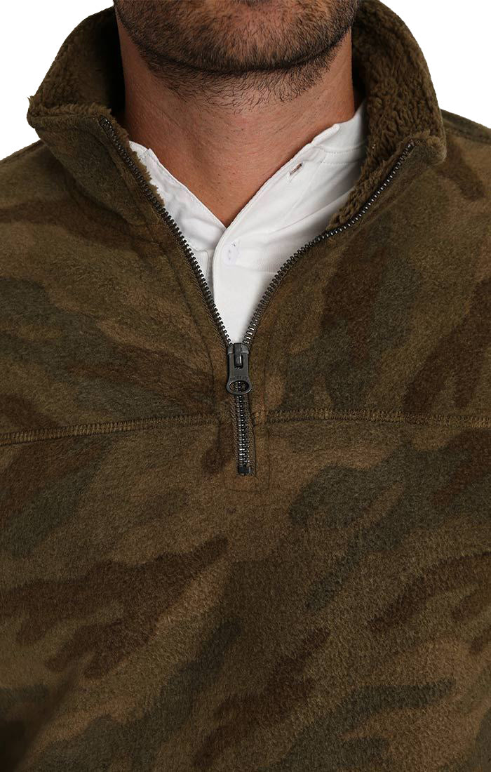 Camo Quarter-Zip Sherpa Fleece Pullover