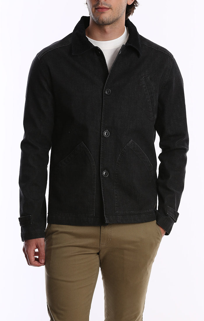 Black Denim Stretch Barn Jacket