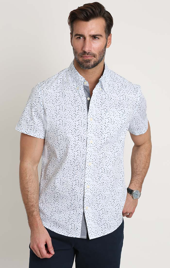 Blue Floral Print Stretch Poplin Short Sleeve Shirt - JACHS NY