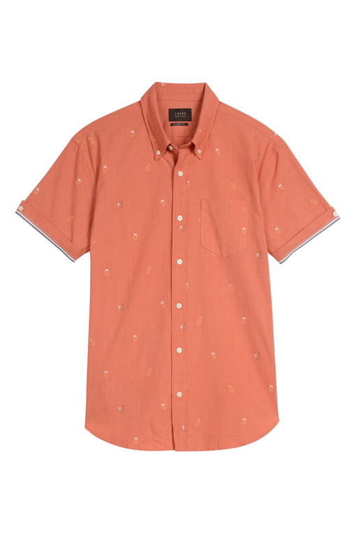 Beer Print Stretch Chambray Short Sleeve Shirt - jachs