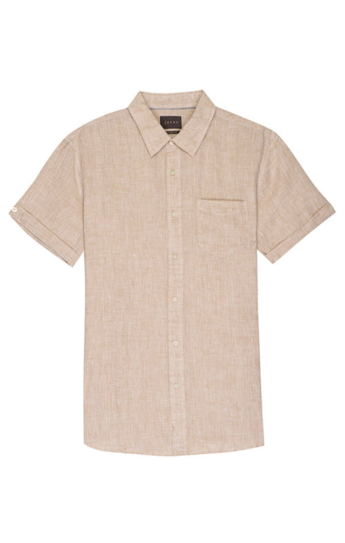 Beige Linen Short Sleeve Shirt