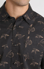Bird Print Chambray Shirt - jachs