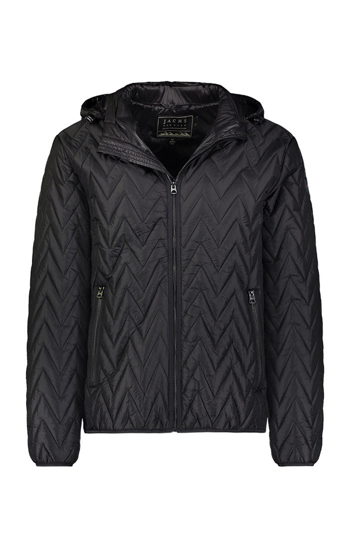 Black Herringbone Light Puffer Jacket - jachs
