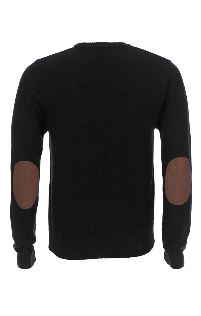 Black Merino Wool Elbow Patch Crewneck - jachs