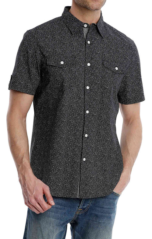 Black Splatter Print Short Sleeve Shirt - jachs