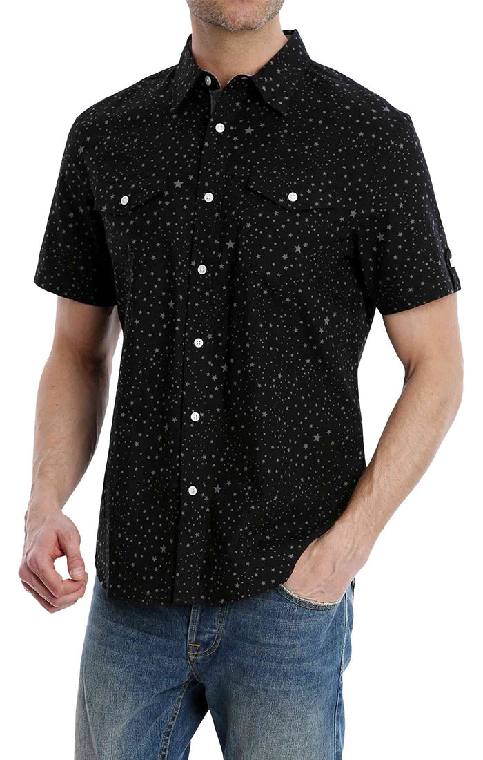 Black Star Print Short Sleeve Shirt - jachs