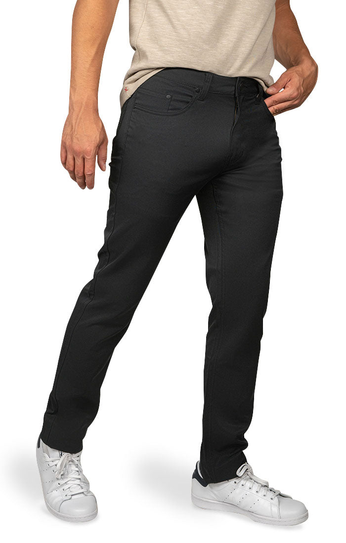 Black Straight Fit Stretch Tech Pant - jachs