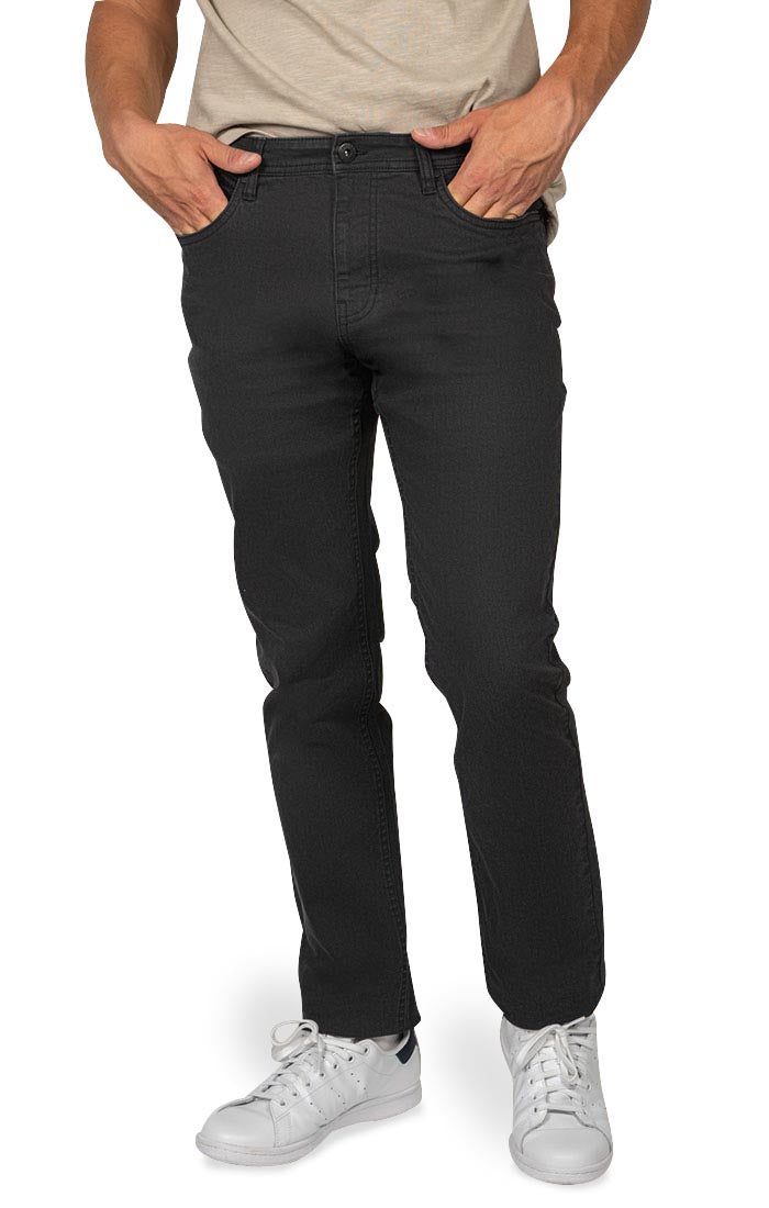 Black Straight Fit Stretch Twill Pant - JACHS NY