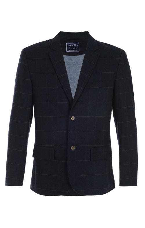 Navy Wool Blend Windowpane Blazer