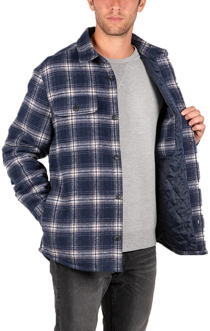 Blue Plaid Wool Blend Quilted Shirt Jacket