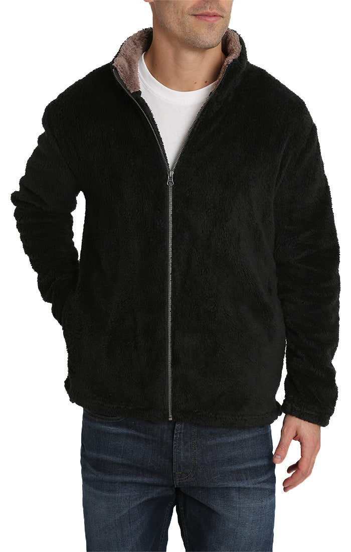 Black Teddy Sherpa Stretch Zip Jacket - jachs