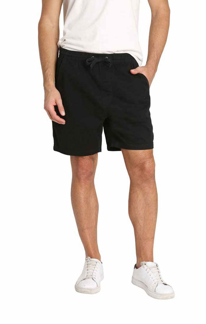 Black Stretch Twill Pull On Dock Short - jachs