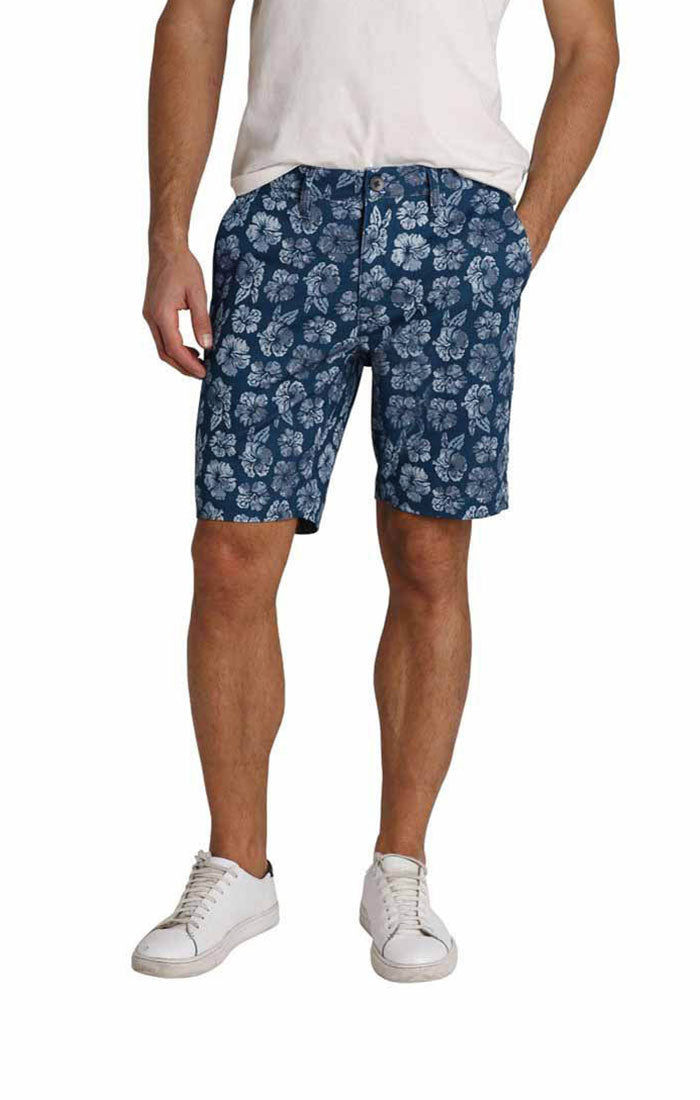Blue Floral Print Stretch Chino Short - jachs