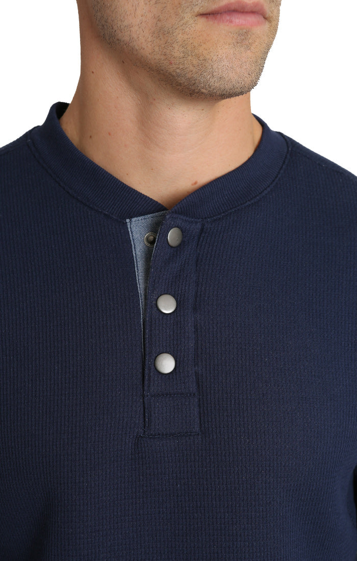 Navy Waffle Sherpa Lined Henley