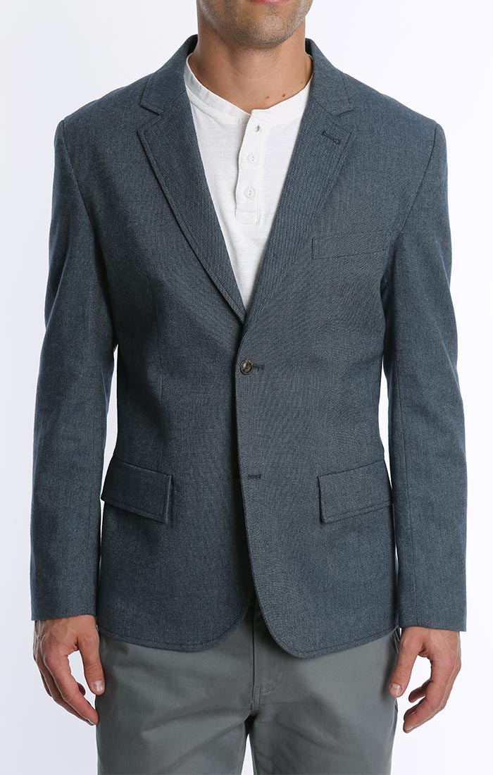 Blue Brushed Cotton Oxford Blazer