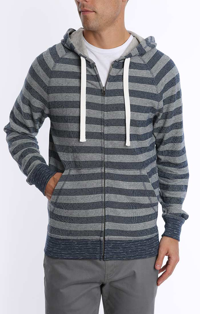 Blue Stripe French Terry Zip Up Hoodie