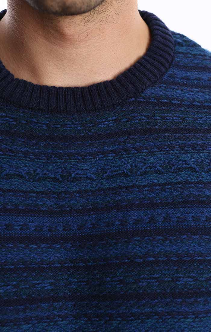 Navy Reverse Fairisle Merino Wool Sweater