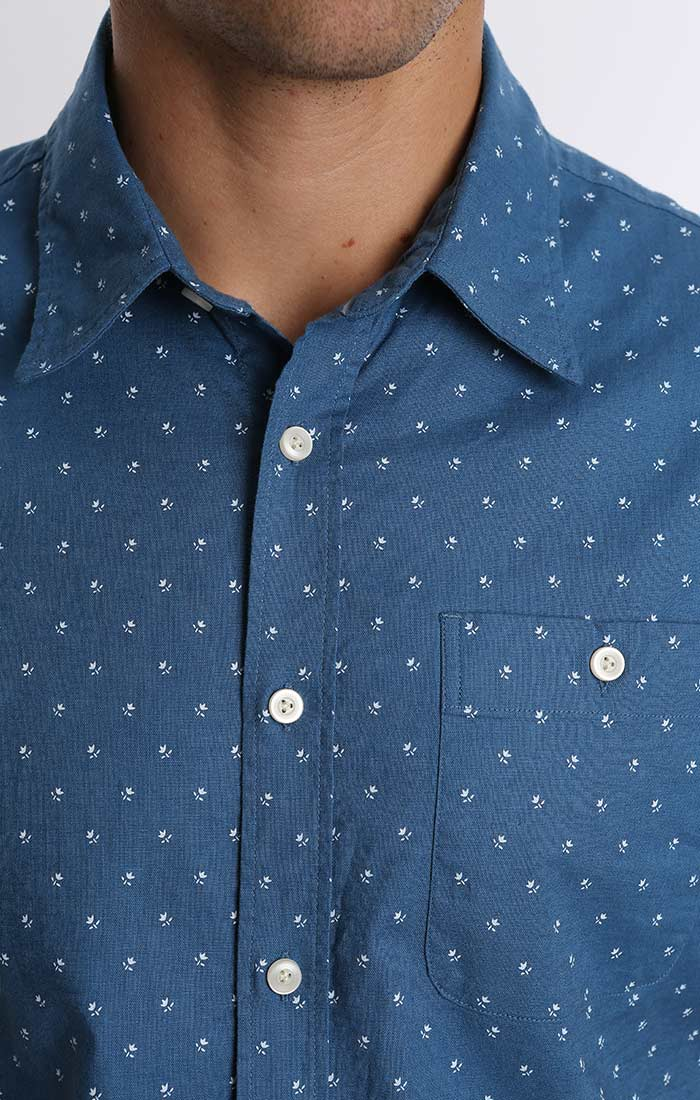 Blue Floral Linen Stretch Short Sleeve Shirt - jachs