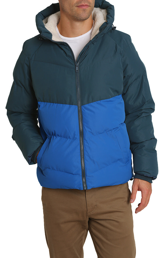 Blue and Grey Sherpa Lined Puffer Jacket
