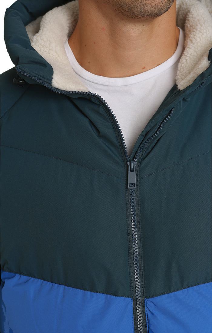 Blue and Grey Sherpa Lined Puffer Jacket - jachs
