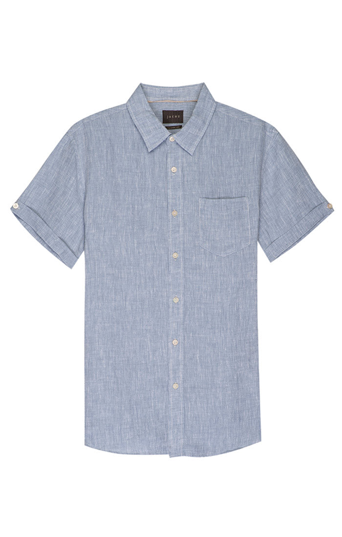 Blue Linen Short Sleeve Shirt - jachs