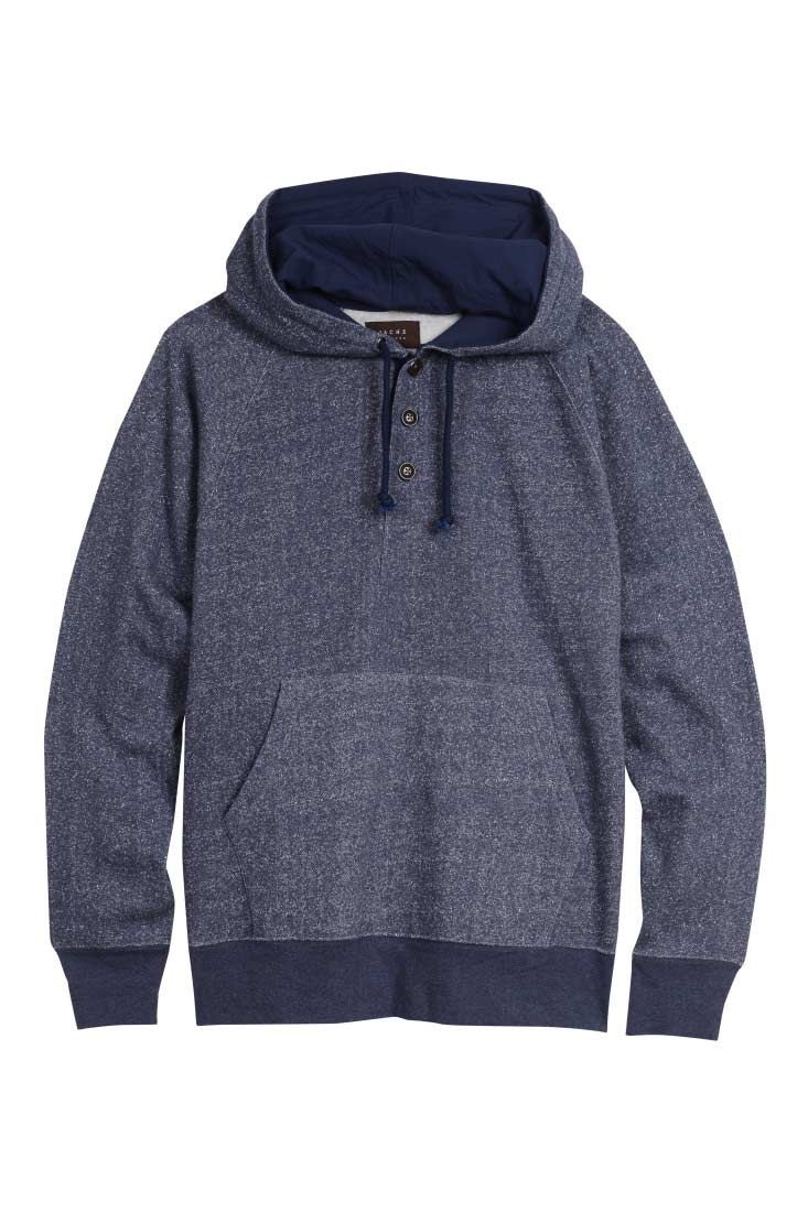 Blue Melange Fleece Hooded Henley