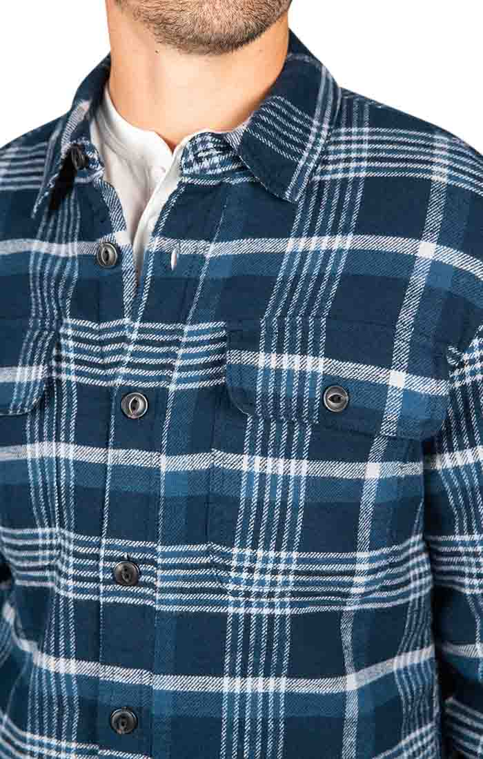 Navy Sherpa Flannel Shirt Jacket