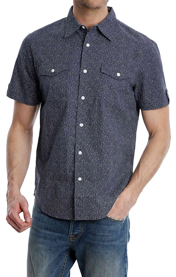 Navy Splatter Print Short Sleeve Shirt