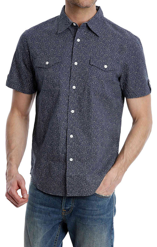 Navy Splatter Print Short Sleeve Shirt - jachs