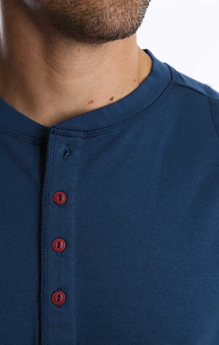 Blue Stretch Long Sleeve Henley - jachs