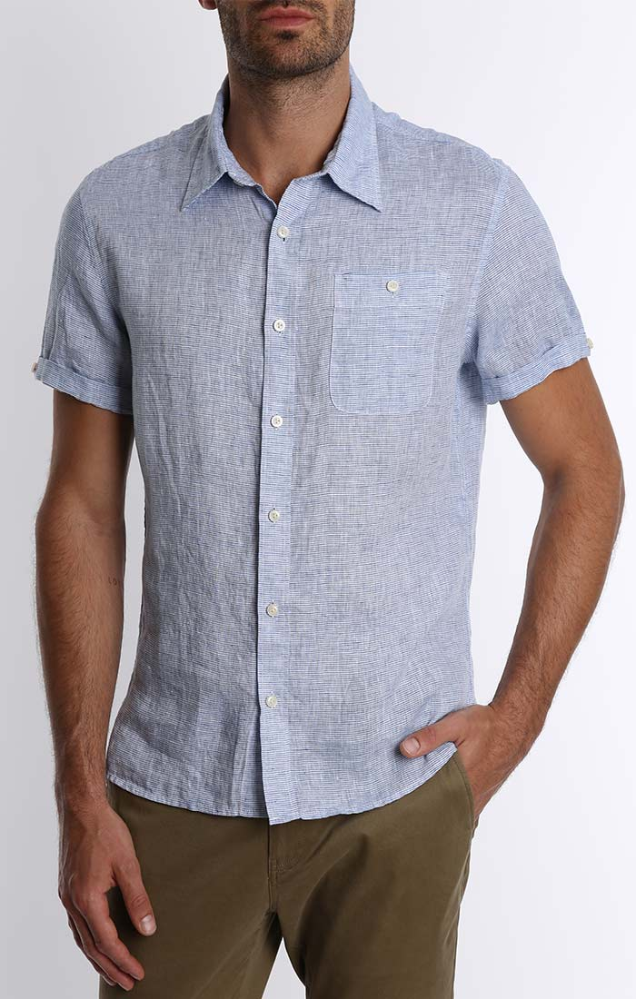 Blue Striped Linen Short Sleeve Shirt