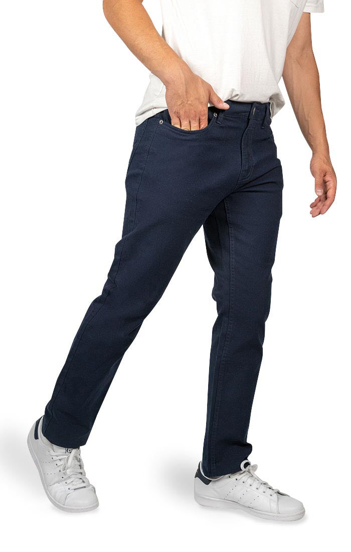 Navy Straight Fit Stretch Canvas Pant
