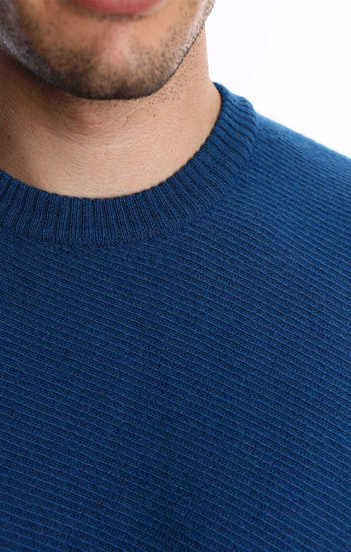 Blue Merino Twill Crewneck Sweater