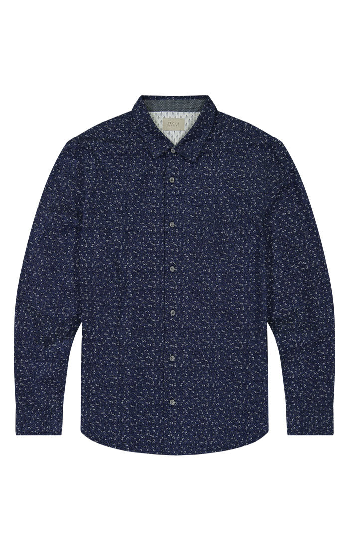 Navy Vine Print Long Sleeve Tech Shirt - jachs