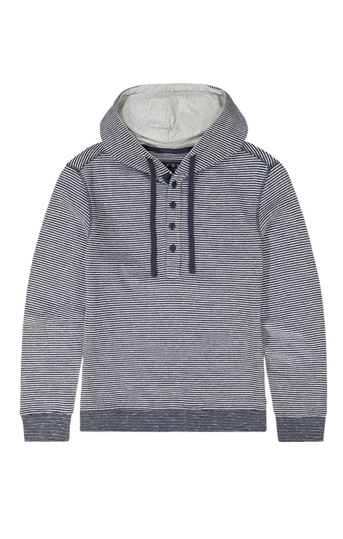 Navy Striped Fleece Hooded Henley - jachs