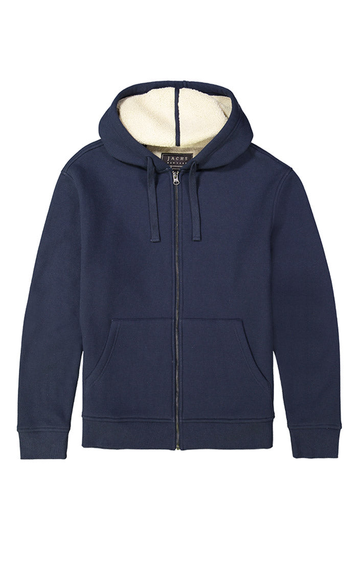 Navy Waffle Sherpa Lined Hoodie - jachs