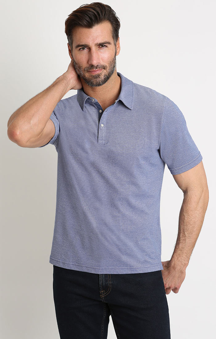 Blue Knit Oxford Polo - JACHS NY