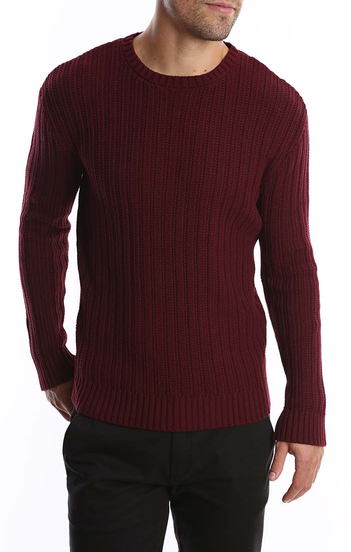 Burgundy Ribbed Crewneck Sweater - jachs