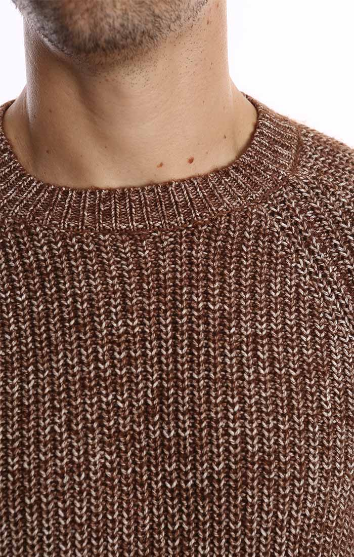 Brown Marled Ribbed Crewneck Sweater - jachs
