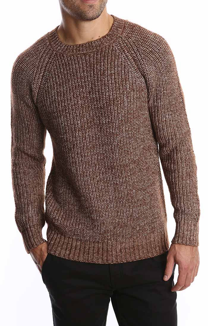 Brown Marled Ribbed Crewneck Sweater