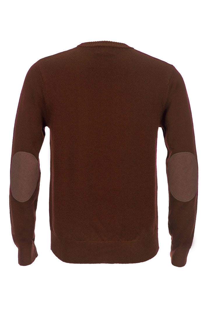 Brown Merino Wool Elbow Patch Crewneck - jachs