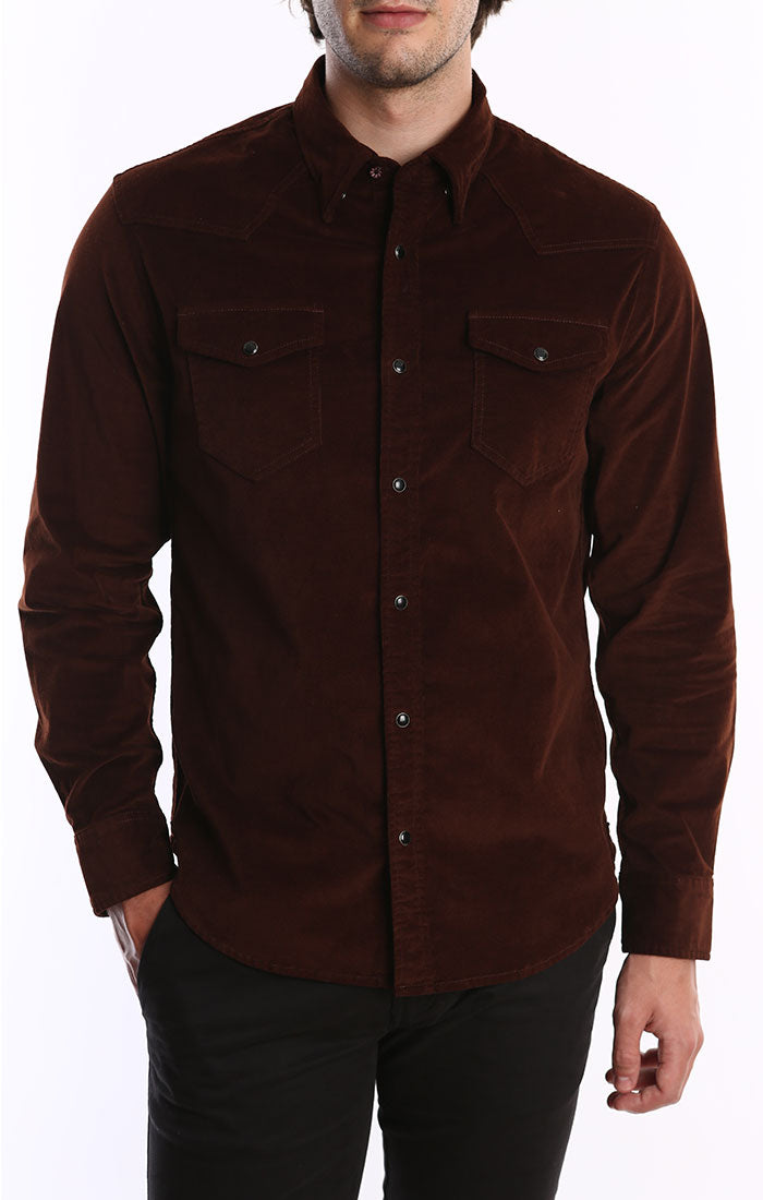 Brown Stretch Corduroy Western Shirt
