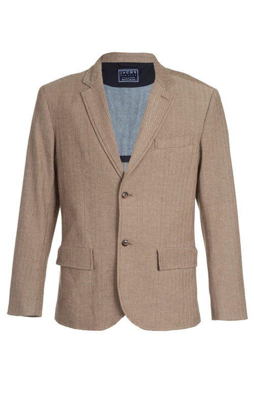 Brown Stretch Herringbone Blazer