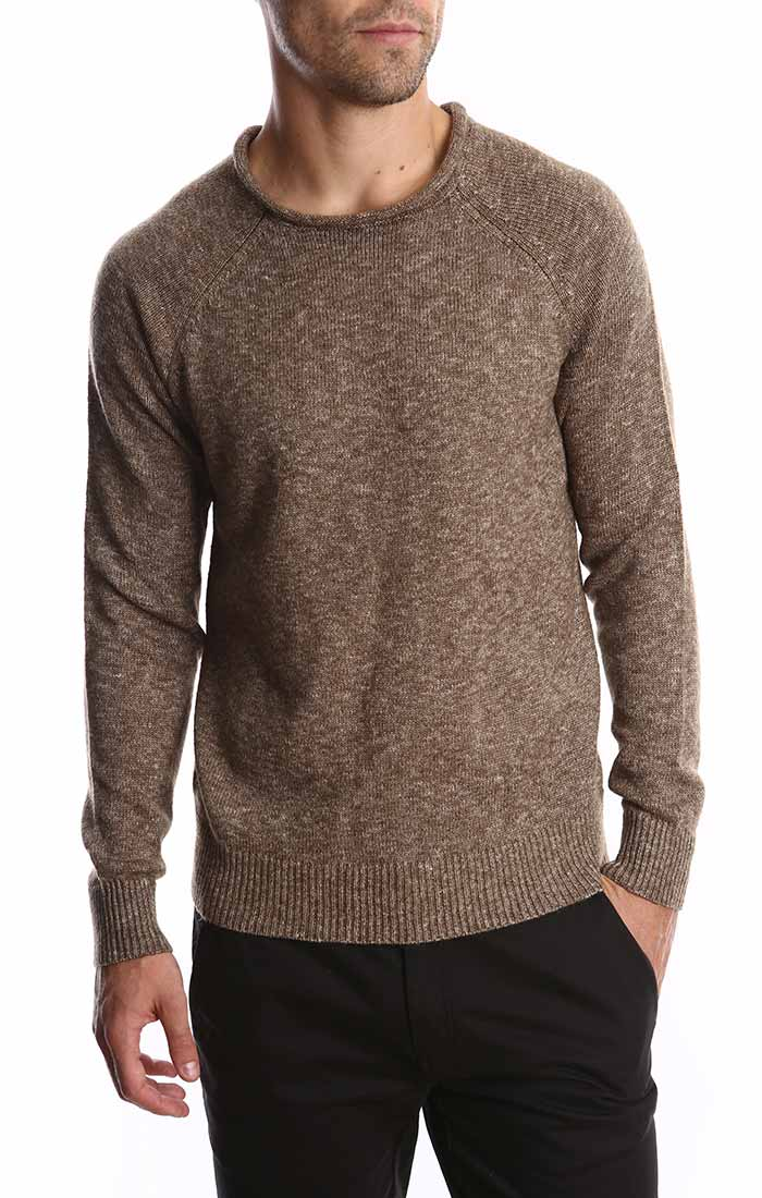 Brown Melange Roll Neck Sweater Jachs Ny