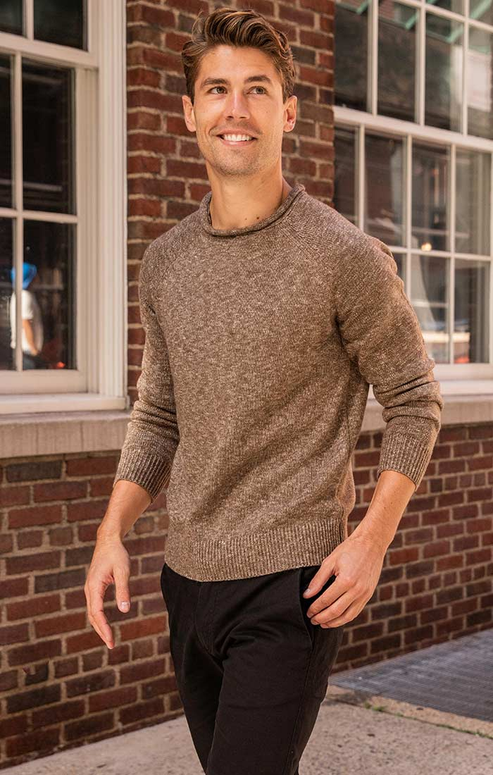 Brown Melange Roll Neck Sweater - JACHS NY
