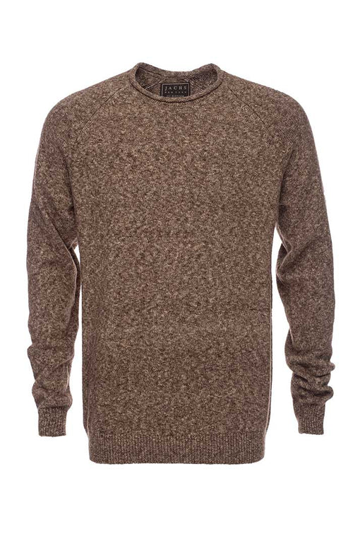 Brown Melange Roll Neck Sweater - jachs