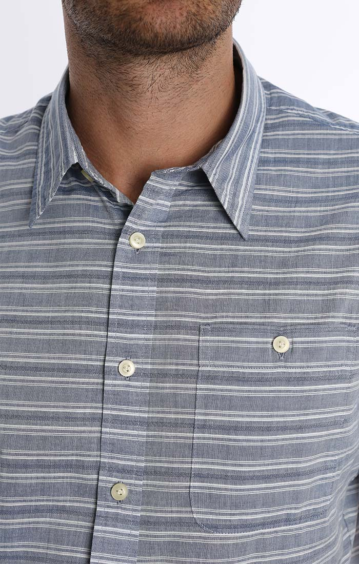 Blue Stripe Dobby Short Sleeve Shirt - jachs
